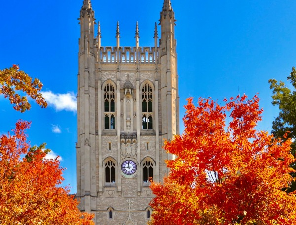 Memorial Union on Mizzou's campus with brightly-colored fall leaves.