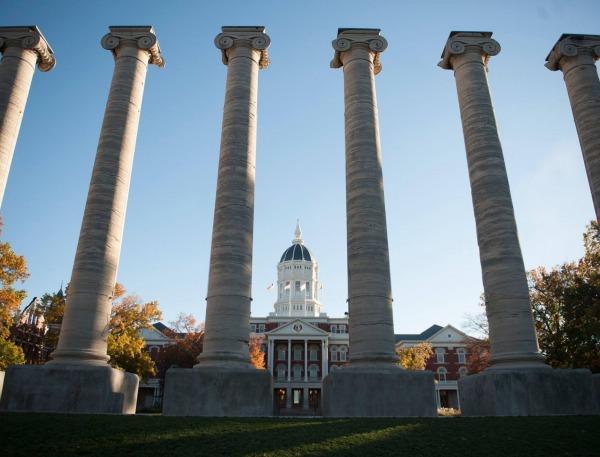 Columns on the Quad on Mizzou's campus.