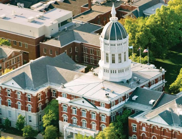 Aerial view of Jesse Hall on Mizzou's campus.