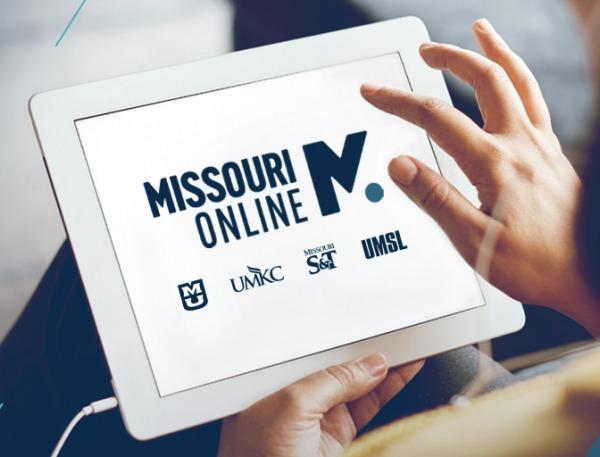 Missouri Online, Mizzou, UMKC, Missouri S&T and UMSL logos on tablet
