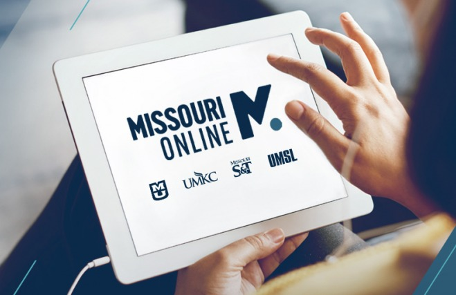 Missouri Online, Mizzou, UMKC, Missouri S&T and UMSL logos on tablet