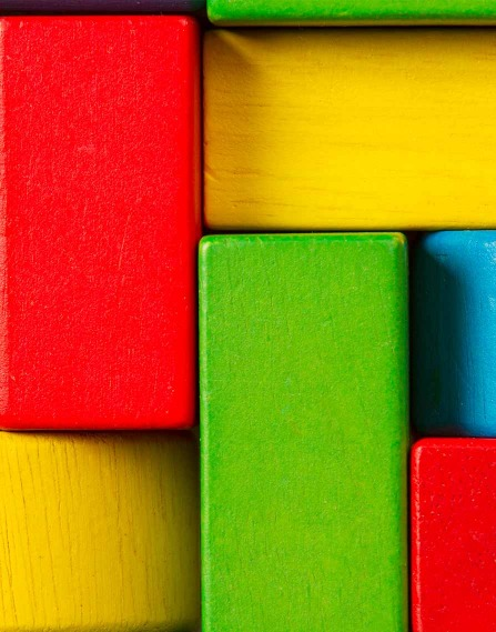 Brightly colored wooden blocks.