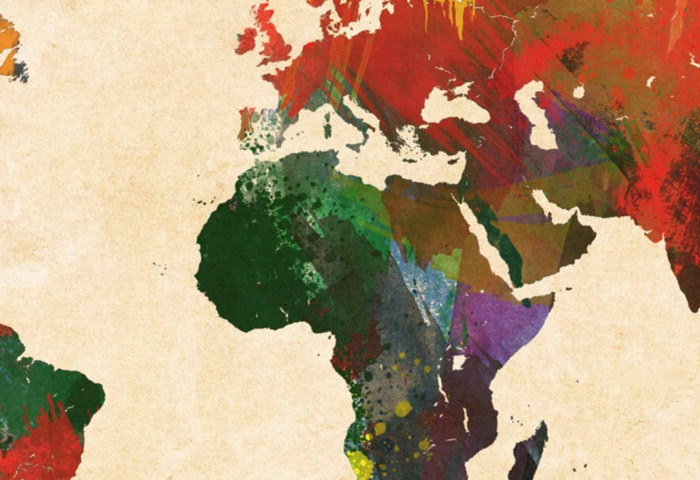 a multi-color map of the continents