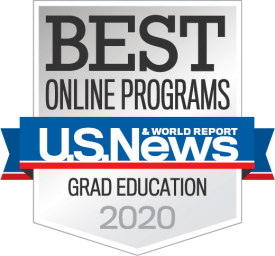 Badge for U.S. News & World Report, Best Online Programs, Grad Education 2020.