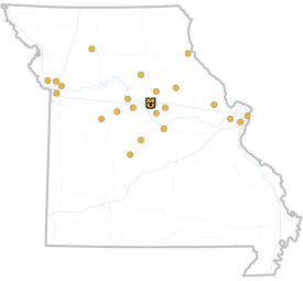 Map of Missouri with MPER school district locations